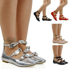 NEW WOMENS BALLERINA ANKLE STRAP WITH BOW LADIES FLAT PUMPS LOAFERS SHOES SIZE