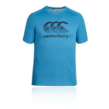 Canterbury Vapodri Poly Mens Blue Short Sleeve Crew Neck Rugby T Shirt Tee Top