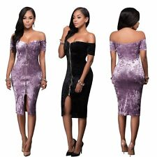 Fashion Sexy Women Lady Strapless Off Shoulder Cocktail Evening Party Slim Dress