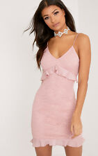 PrettyLittleThing Womens Yazminah Dusty Pink Lace Frill Detail Bodycon Dress