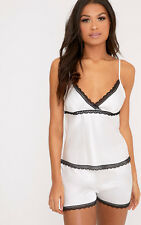 PrettyLittleThing Womens Ladies Mina White Satin Camisole & Short with Lace Trim