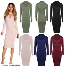 New Ladies Long Sleeve Choker Neck Womens V Neck Midi Dress Plus Big Size 8-26