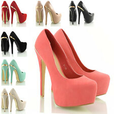 WOMENS CONCEALED PLATFORM LADIES GOLD TRIM STILETTO HIGH HEELS COURT SHOES 3-8