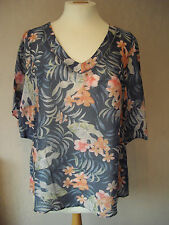 BN - M&S - size 6 - 18 - silk mix Grey/ Blue floral ladies TOP/ Tunic - BNWoT