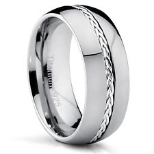 8MM Dome Titanium Men's Ring Band with Braided Silver Inlay, Comfort Fit, Polish