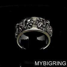 ANCIENT STERLING SILVER MENS MEDIEVAL KNIGHT RING TWIN DRAGON SLAYER ANY SIZE