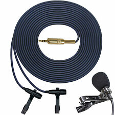 """PRO"" DUAL HEAD MICROPHONE STEREO BINAURAL LAVALIER CLIP ON LAPEL INTERVIEW MIC"