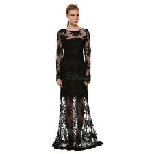 BTSY Women Sexy Long Sleeve Backless Lace Cocktail Evening Party Long Maxi Dress