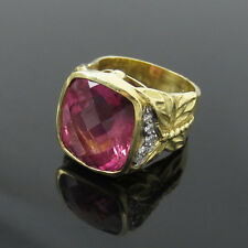 Vintage Seidengang 7ct Checkers Cut Tourmaline & 0.25ct Diamond 18K Gold Ring