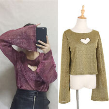 Spring Women Girl Hollow Out Heart Crop Top Flare Sleeve T-shirt Pullover Blouse