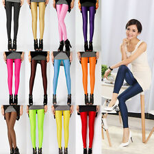 Women Casual Stretch Skinny Leggings Candy Color Slim Fit Pencil Pants Trousers