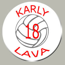 Volleyball Zipper Pull, Pin, or Magnet Graphics Name, Team Name,Number,  Color.