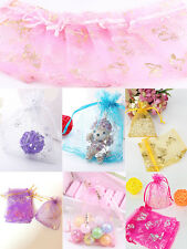 25/50/100pcs 9x12cm Pink Butterfly Print Organza Gift Pouch Bags Wedding Favor