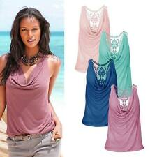 Women Lace Stitching V-Neck Vest Top Sleeveless Blouse Casual Tank Tops T-Shirt