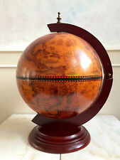 Globe Drinks Cabinet Bar Alcohol Container Man Cave Revolving Sphere World Wood