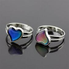 Silver Tone Amazing Colour Changing Mood Ring Adjustable Band Heart Ring Unisex