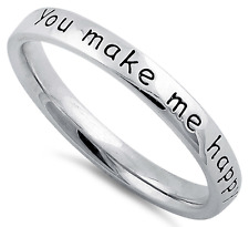 You Make Me Happy Pure 925 Sterling Silver Ring Band Love Friendship Gift