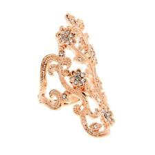 Punk Hollow Flower Crystal Rhinestone Armor Knuckle Joint Finger Rings Gold