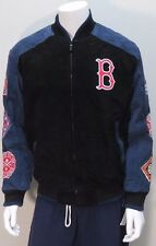 2004 World Series Boston Red Sox Suede Leather Jacket MLB Baseball - Carl Banks