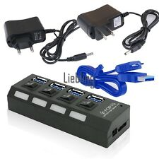USB 3.0 Hub 4 Ports Speed 5Gbps For PC Laptop With On/Off Switch US Plug LEBB