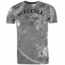 Firetrap Blackseal Chained Floral T Shirt Crew Neck Mens