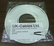 2 Core Flex 0.75mm sq Flat White Flexible Cable Wire Cord 2192Y VARIOUS LENGTHS