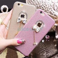 Luxury Bling Glitter Crystal Bowknot Pendant Soft Case Cover for iPhone 7 7 Plus