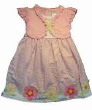 NWT Girl YOUNGLAND Gingham Flower Shrug Spring Easter Dress Pink White Size 5 6