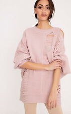 PrettyLittleThing Womens Raysha Blush Distressed Over Sized Knitted Jumper