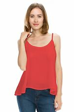 Womens Sleeveless Solid Woven Sheer Chiffon Scoop Neck Blouse Cami Tank Top