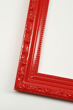 Red Solid Wood Ornate Picture Photo Frame, Ready to hang on your wall decor