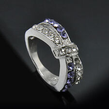Newly Purple Amethyst Criss Cross White Gold Filled Ring Size 6-10 Rings Jewelry