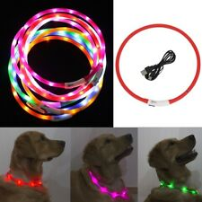 Rechargeable USB Waterproof LED Flashing Light Band Night Safety Pet Dog Collar