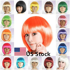 Women Fashion Full Wigs Short Boho Colorful Cosplay Hair Straight Anime Party