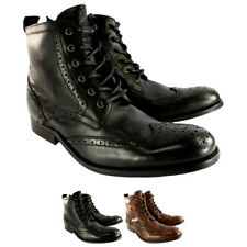 Mens H By Hudson Angus Brogue Leather Lace Up Smart Ankle Boots UK Sizes 7-13
