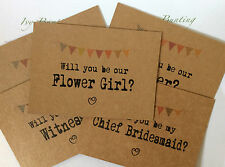 Postcard Wedding WILL YOU BE MY card & envelope  Bunting Design - FREE P+P