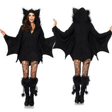 Women Vampire Bat Costume Cosplay Jumpsuit Fancy Dress Outfit World Book Day
