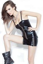 Coquette Wet Look Dress With Hook & Eye Front D934 Black