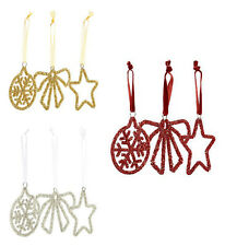 MONSOON 3 Piece Christmas Hanging Decorations Gold / Silver / Red Coloured BNWT