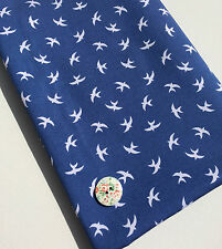 Swallow Print Chambray Denim Fabric Material Indigo Blue Dressmaking Bird