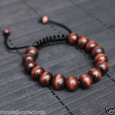 12mm Wooden Beads Dark Brown Golden Cream Turquoise Adjustable Bracelet Unisex