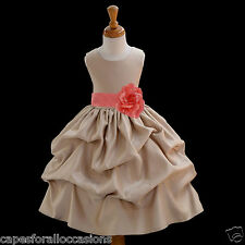 CHAMPAGNE EASTER FLOWER GIRL DRESS PAGEANT WEDDING BRIDESMAID 12-18M 2 4 6 8 10