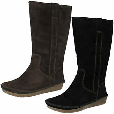 LADIES CLARKS SUEDE PULL ON FLAT WARM LINED MID CALF WINTER BOOTS LIMA RHAPSODY