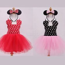 New Toddler Baby Girl Minnie Mouse Bow Polka Dots Dress Tutu Skirt Party Costume