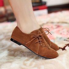Casual Womens Suede Lace Up Flat Heels Round Toe Loafers & Moccasins Shoes