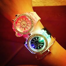 Fashion Women LED Backlight Quartz Crystal  Wrist Watch Casual Sport Waterproof