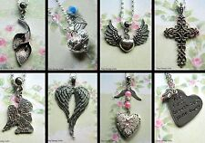 ANGEL BABY WINGS NECKLACE EARRINGS CHARM MISCARRIAGE MEMORY BOX LOCKET PRAYING