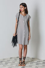 New LILYA Fernanda Linen Dress - Mushroom Stripe
