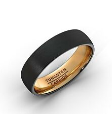 Black Tungsten Ring 6mm Wedding Band Brushed Dome Rose Gold Comfort Fit..