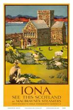 Iona - See this Scotland by MacBraynes Steamers - Celtic Cross at Iona Abbey Art